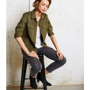 NWT Zara Green Utility Chambray Button Down Shirt